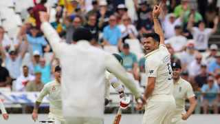 England's James Anderson celebrates the wicket of Kagiso Rabada with the first ball of the day. Photo: Halden Krog/AP