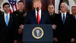 President Donald Trump addresses the nation from the White House on the missile strike that Iran launched against Iraqi air bases housing U.S. troops. Picture: AP Photo/ Evan Vucci