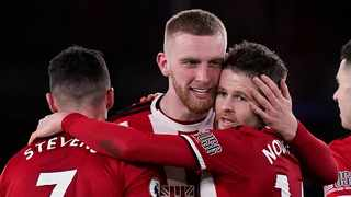 Oli McBurnie's second-half goal earned Sheffield United a 1-0 home victory over West Ham United to move them up to fifth place in the Premier League on Friday. Photo: Andrew Yates/Reuters