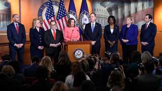 House Speaker Nancy Pelosi of Calif., speaks during a news conference to announce impeachment managers on Capitol Hill in Washington. Picture: AP Photo/Susan Walsh