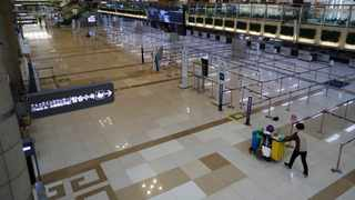 Check-in counters of Japanese airlines are empty at the Gimpo Airport in Seoul. Picture: AP
