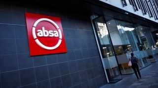 The logo of South Africa's Absa bank is seen outside an Absa branch in Cape Town