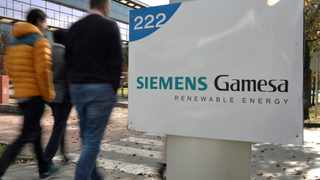 FILE PHOTO: The Siemens Gamesa logo is displayed outside the company headquarters in Zumudio near Bilbao