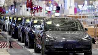 Tesla China-made Model 3 vehicles are seen during a delivery event at its factory in Shanghai. File picture: Reuters/Aly Song