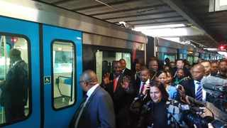 President Cyril Ramaphosa was joined by Premier Helen Zille and Transport Minister Blade Nzimande while going on a walkabout inside the new Prasa trains. Picture: Sisonke Mlamla/Cape Argus