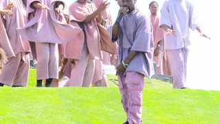 """Kanye West performs at """"Sunday Service at the Mountain"""". Picture: Bang Showbiz"""