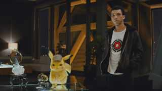 Ryan Reynolds as the voice of Detective Pikachu and Justice Smith as Tim Goodman. Picture:  Warner Bros
