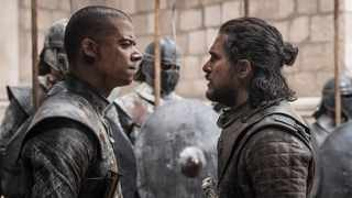 Grey Worm played by Jacob Anderson and Jon Snow played by Kit Harington. Credit HBO
