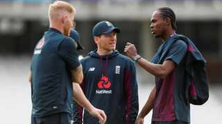 England's Eoin Morgan and teammates during a nets session. Photo: Reuters/Paul Childs