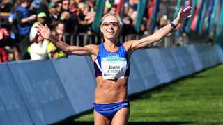 Jenna Challenor finishes in second place in the 2017 Two Oceans Marathon in Cape Town. Photo: Ryan Wilkisky/BackpagePix