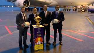 From left to right, Shane Williams, tournament organising committee chief Akira Shimazu, World Rugby chief executive Brett Gosper and Bryan Habana. Photo: @rugbyworldcup/Twitter