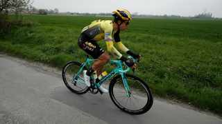 """""""It's a first WorldTour race win. I can't believe it,"""" said Wout van Aert, who is ninth in the overall standings at 30sec. Photo: EPA"""