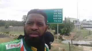 Two African football fans, one of them Botha Msila (pictured) have been forced to abandon his hitchhiking road trip from Cape Town to Cairo to attend the African Cup of Nations starting in the Egyptian capital on Friday. Photo: @MsilaBotha via Twitter