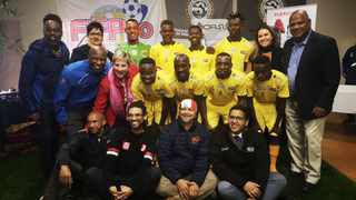 Mayor Dan Plato, MECs Anroux Marais and Sharna Fernandez bid farewell to the team representing SA at the 2019 Homeless Street Soccer World Cup in Wales. Picture: Supplied