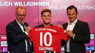 Philippe Coutinho, seen here with Bayern Munich chief executive Karl-Heinz Rummenigge (left) and sporting director Hasan Salihamidzic, will don the No 10 jersey. Photo: @FCBayernEN/Twitter