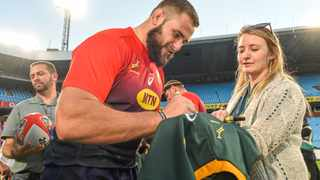 Thomas du Toit during fan activation after the 2019 Castle Lager Rugby Championship, Springbok training session at Loftus Versfeld Stadium in Pretoria on 13 August 2019  Photo: Christiaan Kotze/BackpagePix