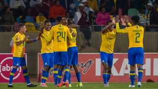 Mamelodi Sundowns players show their elation after Mosa Lebusa scored the opening goal against Bloemfontein Celtic. Photo: Frikkie Kapp/BackpagePix