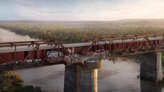 The Kruger Shalati pool deck and accommodation is elevated on a bridge in the Kruger National Park. Picture: Supplied