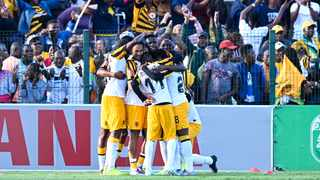 Kaizer Chiefs players celebrate after one of their goals against AmaZulu during their Absa Premiership clash at King Zwelithini Stadium on Tuesday. Photo: Gerhard Duraan/BackpagePix