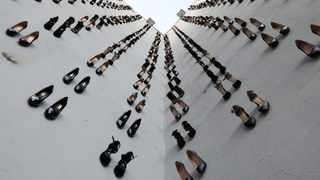 An art installation by Turkish artist Vahit Tuna with 440 pairs of high heels, the number of women murdered by men in Turkey in 2018. Picture: Mesude Bulbul/Reuters