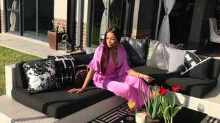 Bonang Matheba sitting on the patio of her stunning home. Picture: Instagram