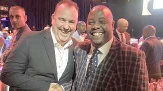 Brett Hoppe, general manager of Time Square, and the mayor of Tshwane Stevens Mokgalapa at the CCBC dinner. Picture: supplied