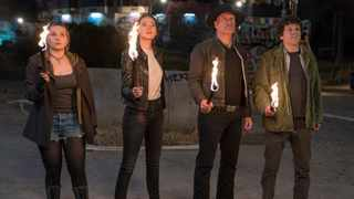 """From left, Abigail Breslin, Emma Stone, Woody Harrelson and Jesse Eisenberg in """"Zombieland: Double Tap."""" Picture: Jessica Miglio/Columbia Pictures"""