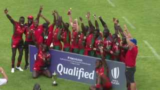 The Kenyan Sevens team celebrates after beating Uganda in the final of the Rugby Africa Sevens tournament in Brakpan. Photo: @OfficialKRU/Twitter