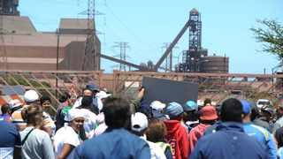 Workers at ArcelorMittal picket outside the entrance of the plant near Saldanha on the West Coast. Picture: Henk Kruger/African News Agency
