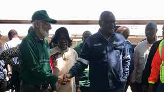 Gauteng premier David Makhura with Gift of the Givers' Allauddin Sayed. The humanitarian organisation on Wednesday brought assistance for Mamelodi residents affected by floods. Picture: ANA
