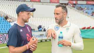 England captain Joe Root and South African counterpart Faf du Plessis have a conversation ahead of the post-match presentation at the end of the first Test at Supersport Park in Centurion on Sunday. Photo: Catherine Kotze/BackpagePix