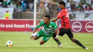 Harris Tchilimbou of Bloemfontein Celtic and Vincent Pule of Orlando Pirates during the Absa Premiership 2019/20 game between Bloemfontein Celtic and Orlando Pirates at Dr Molemela  Stadium in Bloemfontein on Saturday. Photo: Frikkie Kapp/BackpagePix