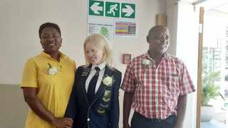 Charlotte Moshoele, Paballo Moshoele and Joel Moshoele at Prinshof School for the Visually Impaired celebrating Paballo's achievement of gaining the second best results of learners with special educational needs in Gauteng. Picture: Chelsea Ntuli