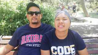 """Achmat and Shaadiqua Smith, from Mitchells Plain, said: """"Job creation! The government needs to create more job opportunities."""" Picture:  Nomalanga Tshuma/Cape Argus"""