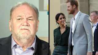 Thomas Markle, Prince Harry and Duchess Meghan. Picture: Reuters/AP