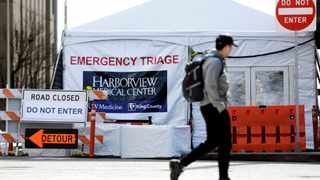An emergency triage tent at Harborview Medical Center as efforts continue to help slow the spread of coronavirus disease in Seattle, Washington. Picture: Jason Redmond/Reuters