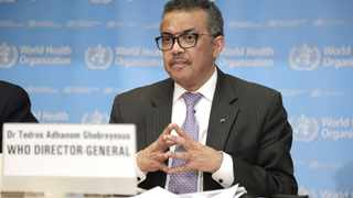 World Health Organisation (WHO) Director-General Tedros Adhanom Ghebreyesus speaks at a daily briefing in Geneva, Switzerland. Photo by: Li Ye/Xinhua