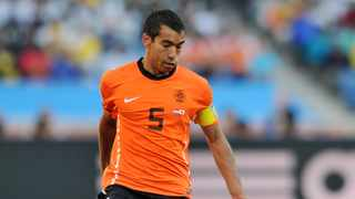 No body saw the goal coming Giovanni Van Bronckhorst against Uruguay. Photo: Sabelo Mngoma/Backpagepix
