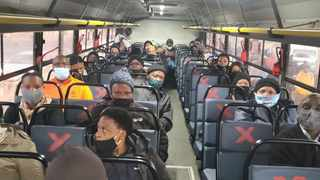 Passengers onboard a Putco bus have to social distance. Picture: Supplied