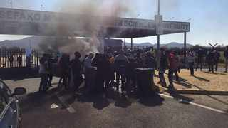 Students at Sefako Makgatho Health Sciences University have shutdown the university's entrance with burning tyres. Picture: James Mahlokwane