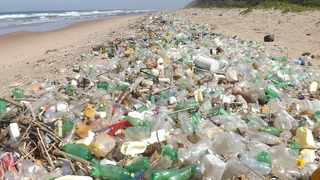 Thousands of plastic bottles and other pieces of plastic litter line the coastline south of Durban after a recent storm – testimony to South Africa's ranking among the top 20 worst marine plastic polluters in the world. Picture: Lisa Guastella