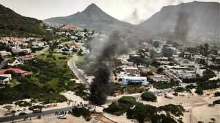 Hout Bay protest seen from the air. Picture: Supplied/City of Cape Town