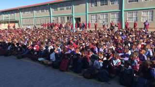 Pupils at Hazeldene Primary in Mitchells Plain get the message to #SaveWater at the schools roadshow launch. Picture: Marvin Charles/Cape Argus