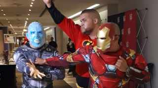 Jason Goliath jumped on stage as Mr. Incredible, flanked by Nicholas Goliath (as Electro) and Donovan Goliath (as Iron Man). Picture: Supplied