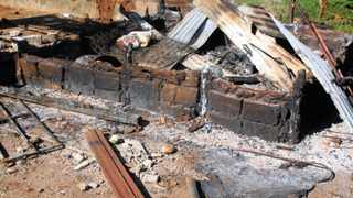The ashes of a mud-house destroyed by the family, as it left the village outside Tzaneen. 201210 Picture: Moloko Moloto