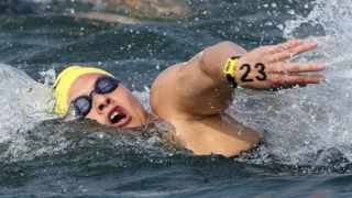 Chad Ho and Troyden Prinsloo shared gold in the mens SA National Open Water 10km race, while Natalie du Toit (pictured) won the womens title.