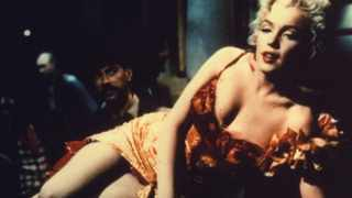 Marilyn Monroe plays a saloon entertainer in this scene from the 1954 film River Of No Return.
