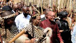 Premier Zweli Mkhize, left, King Goodwill Zwelithini, centre, and President Jacob Zuma attend the annual Reed Dance ceremony at eNyokeni Palace in Nongoma. The king pleaded for the slaughter of rhinos to stop, saying he would get involved in tracking down poachers. Picture: Siyabulela Duda