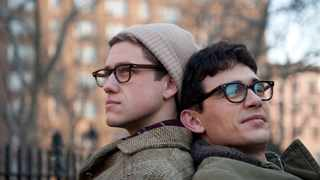 Peter Orlovsky, Ginsbergs lifetime companion, is played by Aaron Tveit, while James Franco, right, is Beat poet Allan Ginsberg in the film Howl, a film about a poem rather than a biopic