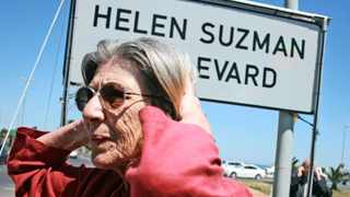 Helen Suzman's daughter, Patricia, stands infront f the new road sign after the Western Boulevard was renamed after her late mother. Photo: Candice Chaplin